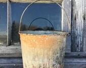 Vintag Paint Bucket/Rustic/Farmhouse Decor/Work Bucket/ Galvanized Pail