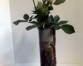 handmade Stoneware Vase, pinetree Nature theme, OOAK