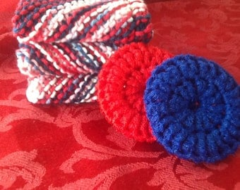 Set of 3 Dish Cloths and 2 scrubbys