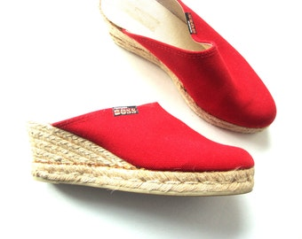 red mules canvas enspadrilles wedge / 7
