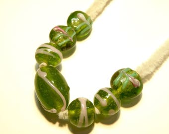 Seven (6) Coordinating Dark Peridot Green and Pink Bubbly Lampwork Beads -- Lot 3M