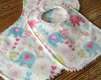 Burp Cloth and Bib Set for Baby, Chenille and Flannel, Sweet Elephants, Snap Bib, Thick