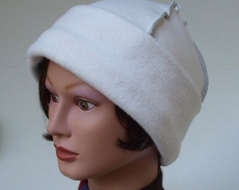 Cotton Fleece Cap, USA Organic, Plush Fleece Hat, Women Winter Hat, Chemo Headwear, Natural White Hat, Cancer Hat, Medium