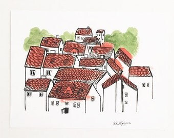 Red Roof City Print of Original Illustration 8.5x11in