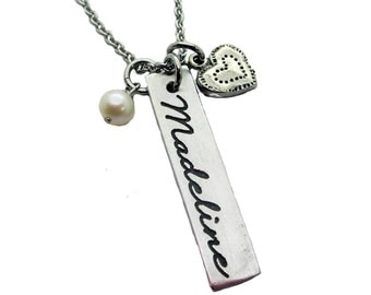 Name and Heart Charm Personalized  Pewter Necklace