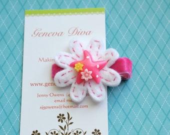 Pink Starfish Hand-stitched Felt Flower Clip