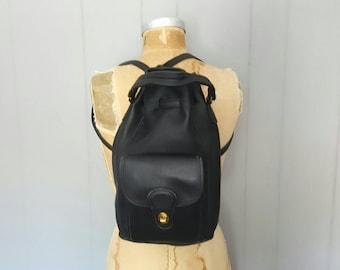 COACH Backpack Bookbag / black Leather Drawstring knapsack bag / 9992