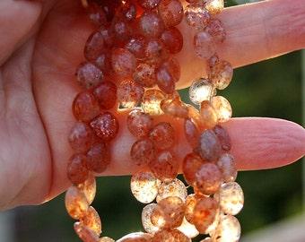 "Destash..Organic look ...Very Pretty Peach Sunstone Smooth Heart Briolette Drop Beads 4"" or 8"" strand 75-80ct weight"