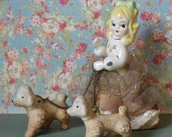 Vintage Girl Walking Poodle Dogs on Chains Porcelain Figurine Japan