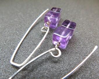 purple amethyst earrings. February birthstone jewelry. sterling silver dangle earings.