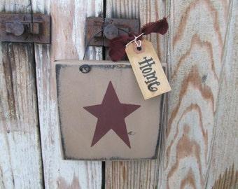 Primitive Star Hand Painted Little Wooden Sign Plaque GCC6505