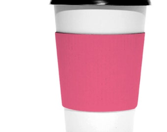Blanks!  Pack of 25 coffee or hot chocolate cup wraps sleeves in kraft,  white or pink!