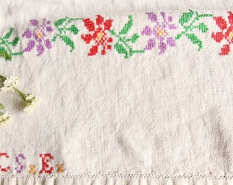 D 81: handloomed linen antique charming TOWEL napkin, LAUNDERED,리넨, decoration; tablerunner