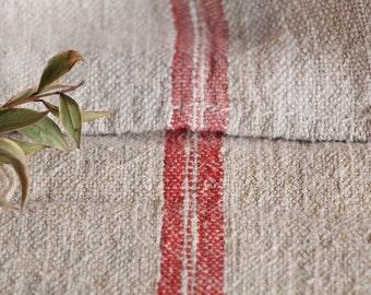 B 839 : Grain Sack antique linen, FADED RED pillow benchcushion 리넨, lin, 42.52 long, wedding, decoration