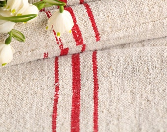 B 942: antique grain sack 리넨 BRIGHT RED 44.09 long,holiday feeling pillow cushion, decoration, french lin tablerunner, upholstery
