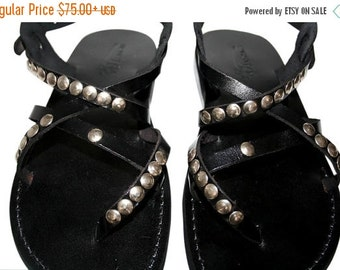 20% OFF Black Studded Triple Leather Sandals for Men & Women - Handmade Unisex Sandals, Flip Flop Sandals, Jesus Sandals, Genuine Leather Sa