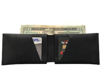 Black Leather Slit Wallet Coin Money Purse For Men & Women - Accessories Collection