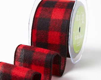 "2.5"" Brushed Buffalo Check Ribbon (wired) . 1 yard"