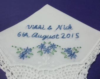 Something blue wedding handkerchief, hand embroidered, personalized, hankerchief, names and date written out, bouquet wrap, bridal gift