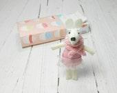 Easter basket stuffer kids doll dollhouse miniatures felt rabbit bunny gift for girl baby shower pink tulle tutu white birthday Miniature