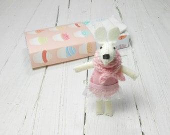 Dollhouse miniatures Kids farm Tiny felt rabbit bunny gift for girl baby shower nursery décor pink tulle tutu white birthday small Miniature