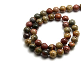 Natural Picasso Stone Beads Strands Colorful Round 10mm  (PP307D)