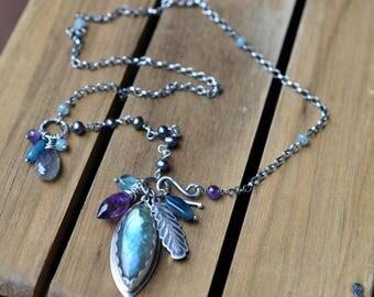 Sterling Silver Labradorite Amethsyt Necklace, Oxidised, Sterling Silver Gemstone Charm Necklace - Assemblage Necklace in Labradorite