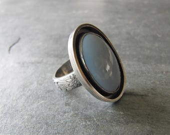Blue Opal and Sterling Silver Ring
