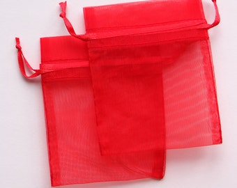 Organza gift bags - red organza pouch - Organza Bags 3x4 - organza gift bag - wedding favors - jewelry pouch - wedding favor - gift bag