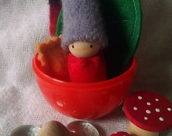 Orange and Periwinkle gnome in Easter Egg with forest treasures!