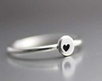 Little Love Heart Ring, Stack Ring, Heart Stack Ring, Sterling Heart Ring, Bridesmaid Ring, Anniversary Ring, Silver Heart Ring, Midi Ring