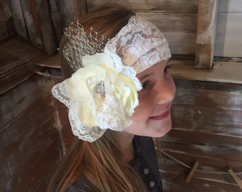 Toddler Flower Headband with Vintage Lace