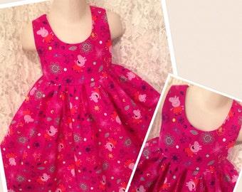 Pink Peppa Pig * classic style dress jumper CUSTOM SIZES girl 2 3 4 5 6 7 8 10 12 14 your choice - sewnbyrachel