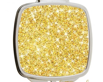 Solid Glitter & Stainless Steel  Silver Compact Pocket Mirror / Gold Glitter Mirror / Glitter Pocket Mirror / Glitter Compact mirror