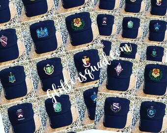 Black Hat Sorority Crest / Licensed Ball Cap / Messy Hair Ball Cap / Chi Omega / Delta Gamma / Alpha Chi Omega / Delta Zeta