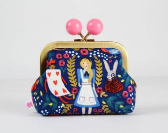 Metal frame coin purse with color bobble - Wonderland in navy blue - Color dad / Japanese fabric / Rifle Paper Co. / Alice in WOnderland