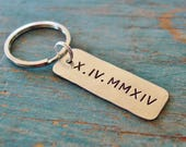 Roman Numeral Keychain, Personalized Anniversary Gifts for Men, Hand Stamped, Groom Gift, Wedding Gift,Mens Anniversary Gifts,Sobriety Gift