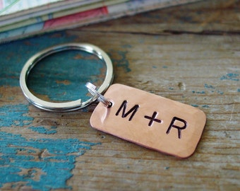 Personalized Keychain,Couple Initials,Hand Stamped,Copper Gift,Copper Anniversary,7th Anniversary Gift,Boyfriend Gift,Husband Gift,Unisex
