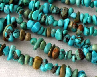 "Turquoise Chip Beads 36"" Circular Strand"