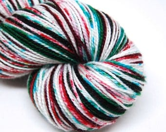"""DYED TO ORDER - Glam Rock Sparkle Sock Yarn - """"Twisted Peppermint"""" -  Handpainted Superwash Merino - 438 Yards"""