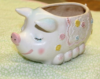 Vintage Retro Mama sow pig and 8 Piglets Planter with flowers C-8317