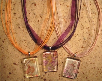 26 Inch Organdy Ribbon and Cord Necklace with Adjustable Chain in 9 Colors
