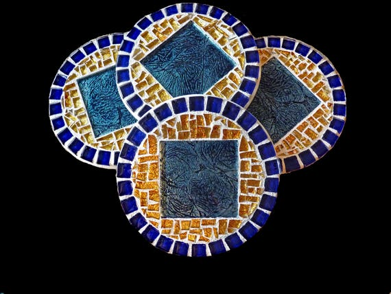 Mosaic Glass Ceramic Coasters in Teal, Blue, and Gold Ready to Ship 4 Coasters
