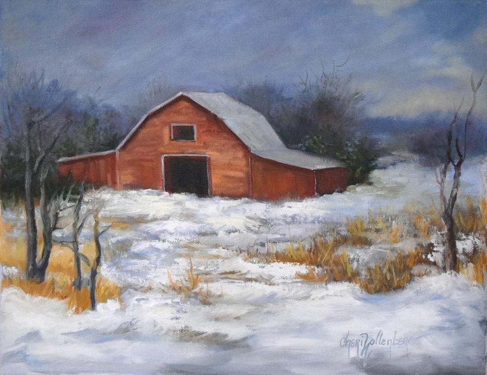Barn Landscape Paintingsnow Landscapefarmhouse Chic