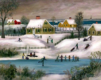 Skating on the Pond - Limited Edition Print _ by J.L. Munro
