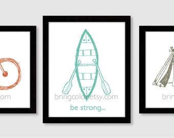 Be Brave Be Strong Be Kind Wall Art Prints Set of 3 for nursery, kids room or play room adventure camping biking outdoors