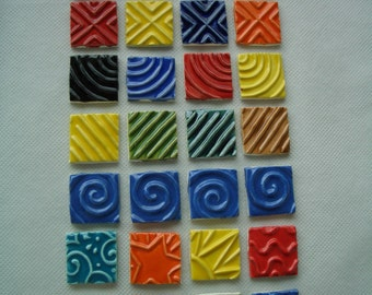 Q28 - COLORFUL Stamped SQUARES - Ceramic Mosaic Tiles