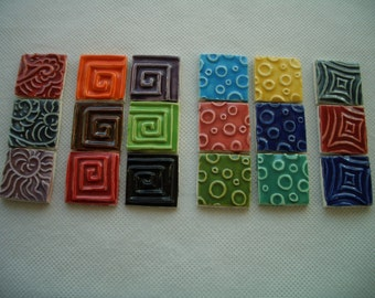 18PA - COLORFUL Stamped SQUARES - Ceramic Mosaic Tiles