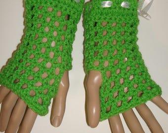 Springtime Crochet Finglerless Glove Wristers/Spring Green/Women's Gloves/Women Accessories/Driving Gloves/Summer Accessories/Gloves