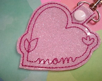 MOM  Heart Glitter   Key Chain Snap Tab  Great for MOTHERS DAY